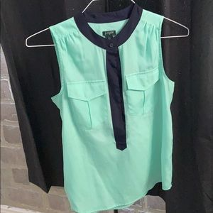 Jcrew sleeveless seafoam and navy blue blouse